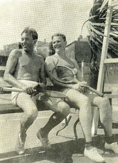 Boris Knoblok and P.P. Arzhanov at a tennis court. 1930s