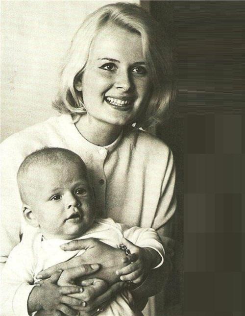 Estonian actress Eve Kivi with her son