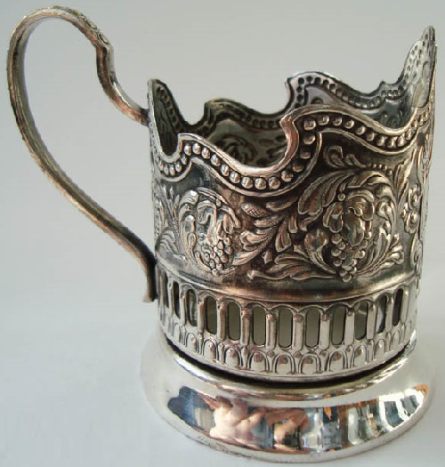 Holder 'Cosmos of USSR'. Silver cup holder, side view