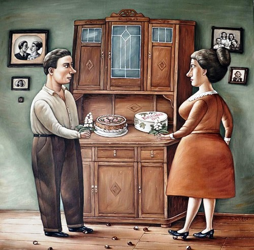 Kiev cake. One of the series of nostalgic paintings about life in USSR by Donetsk artist Angela Dzherikh