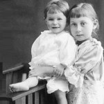 As a child, Olga Lepeshinskaya (right)