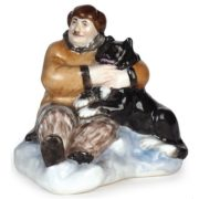 Sculpture 'Papanin with husky on the ice', Leningrad Porcelain Factory, sculptor - Natalia Danko (1892-1942). 1930. Porcelain, overglaze painting