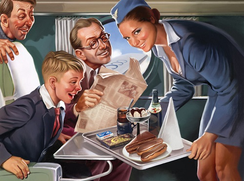 Soviet pin-up. Artist Valery Barykin. Soviet stewardess (podstakannik on a tray)