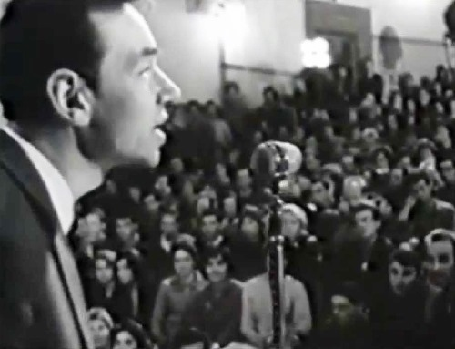 Soviet poet Andrei Voznesensky reciting his poems in the auditorium of Moscow Polytechnic Museum, 1060s