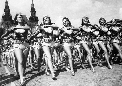 Sportwomen from the Azerbaijan SSR to the All-Union parade of athletes. The USSR. 1939