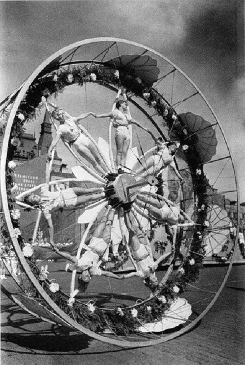 Wheel in the parade of athletes, Red Square, Moscow, USSR, 1936
