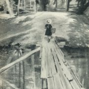 A girl and a bridge. 1955. Black watercolor