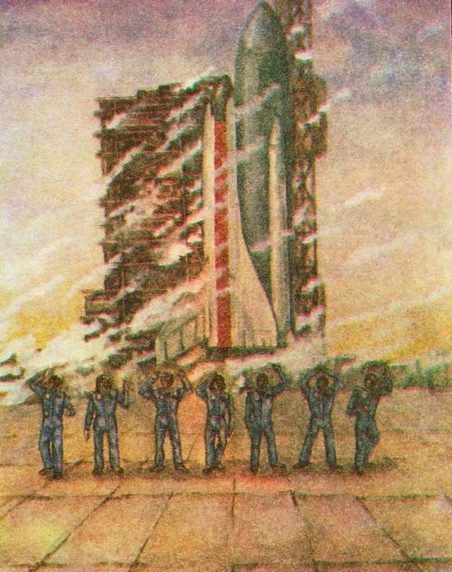 Andrey Kalyukina 12 yo. In memory of the crew of 'Challenger'. Gouache. Children's Art School, Kishinev. Soviet Moldavia