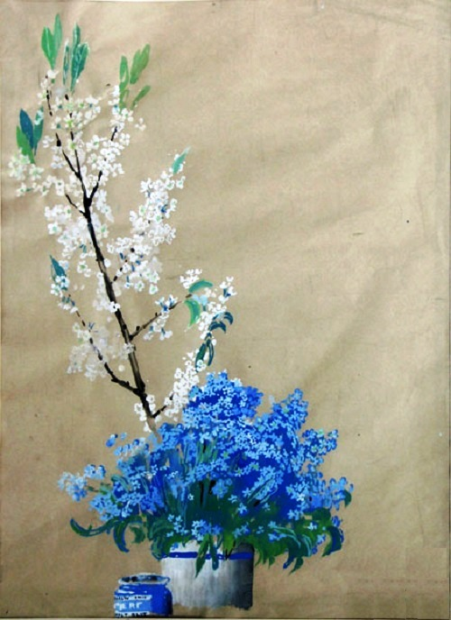Bird cherry and forget-me-not still life. Oil on canvas. Soviet artist Yuri Pimenov