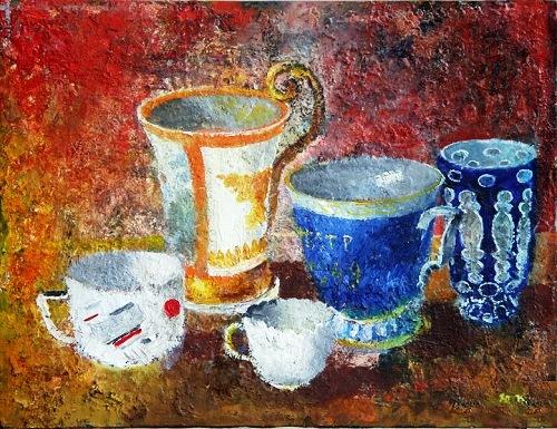 Cups. Still life. Soviet artist Yuri Pimenov