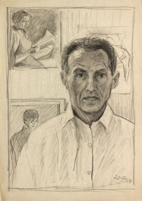 Hans Preuss (1904 Germany – 1984 USSR). Self-portrait. 1964