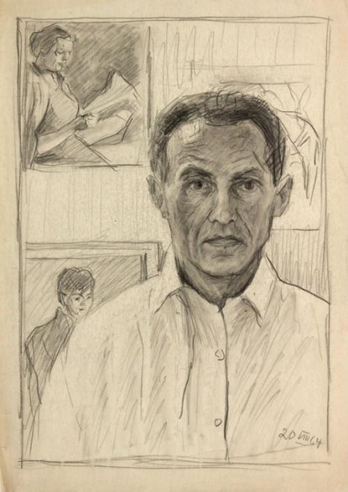 Hans Preuss (1904 Germany – 1984 USSR). Self-portrait. 1964