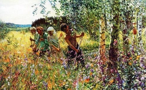 Haymaking. 1945. Oil