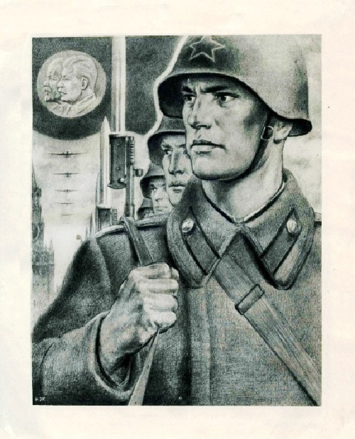 Illustration from the book 'Stalin seed', Publisher Young Guard 1944