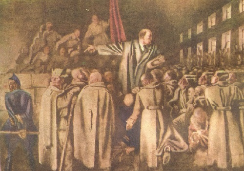 Lenin speaking in front of soldiers, watercolors, 1934