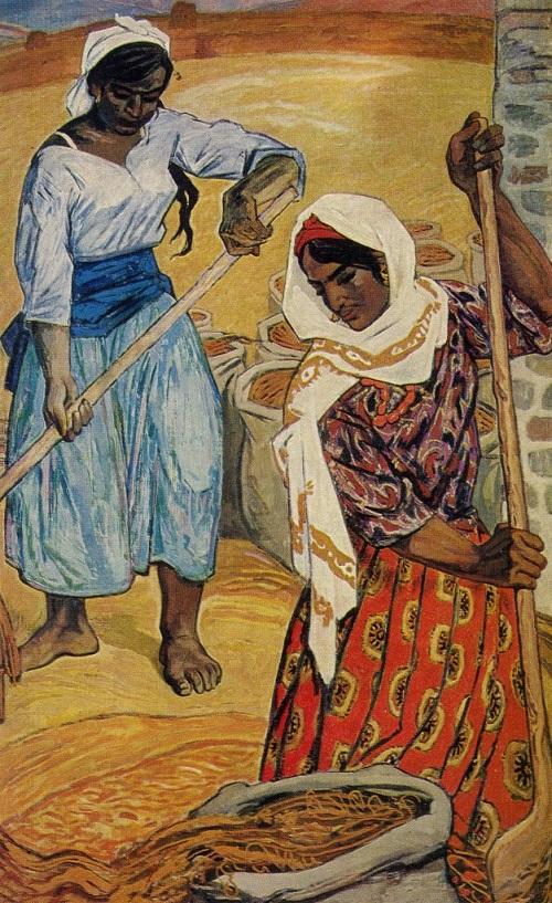 Mikail Husein oglu Abdullayev (born 1921). Girls-rice farmers. Diptych. 1970. Oil tempera