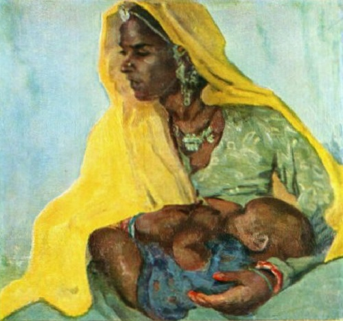 Mother's care. Canvas, oil. Soviet art exhibition in Berlin, 1958