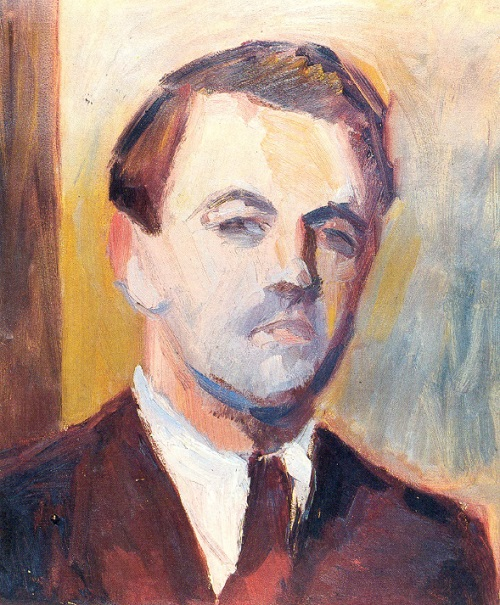 Mysterious Soviet German artist Hans Preuss. Self-portrait. Paper, oil. 1939