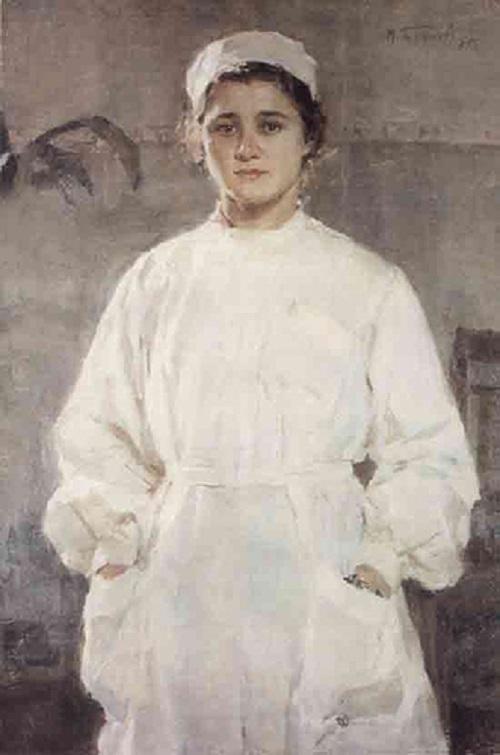 Soviet artist Mikhail Bozhyi. Nurse, 1955, oil on canvas