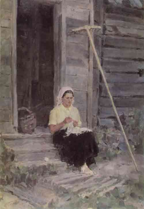 On the porch, 1955, oil on canvas