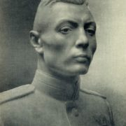 Portrait of twice the hero of the Soviet Union, Colonel V.S. Petrov. 1951. Marble