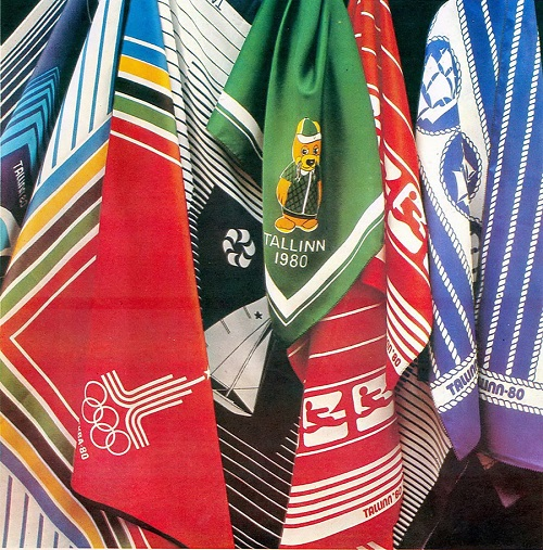 Shawls and scarves with the symbols of the Olympic Games of 1980 in USSR