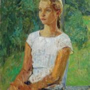 Sketch. A girl in a white t-shirt