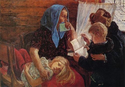 Soviet artist Arkady Plastov (1893—1972). Letter. 1971. Oil