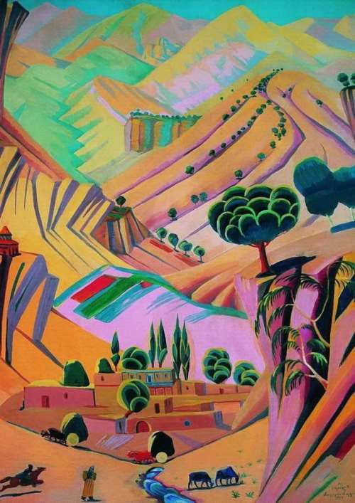 1924 Motley landscape. Canvas, oil