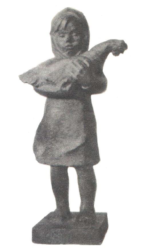 A poultry farm girl. Bronze. 1961