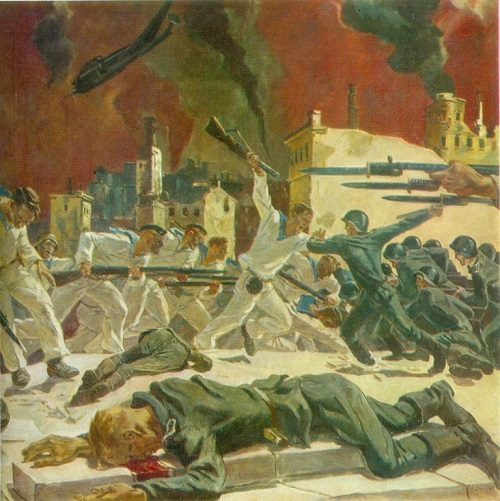 AA Deineka (1899-1969). Defense of Sevastopol. 1942. Oil on canvas