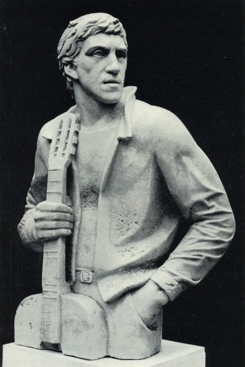 Soviet Russian sculptor Alexander Rukavishnikov. Portrait of Vladimir Vysotsky. 1981. Marble