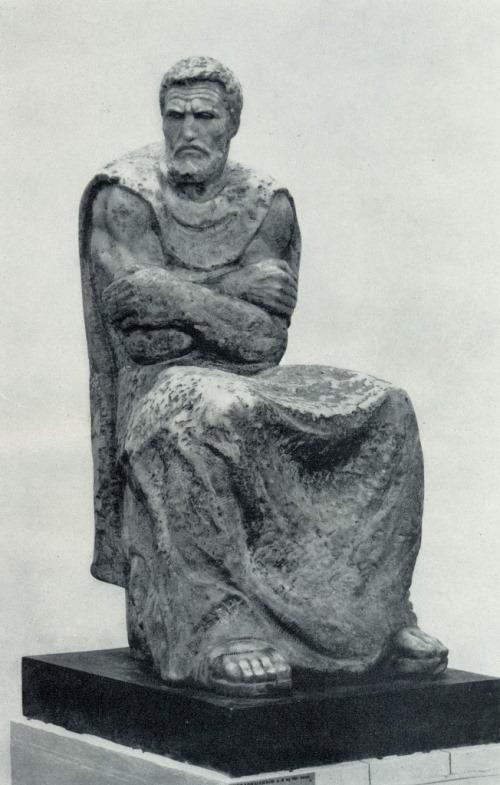 Soviet Russian sculptor Alexander Rukavishnikov. Michelangelo. 1975. Marble