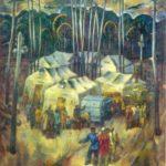 Soviet artists painting BAM