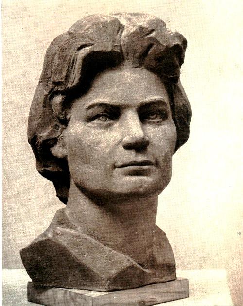 Angelina Leonova (born 1926). The pilot - cosmonaut, Hero of the Soviet Union V. Tereshkova. 1965. Concrete
