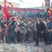 Boris Gorbunov. Lenin passing by revolutionaries on Red square. 1970s