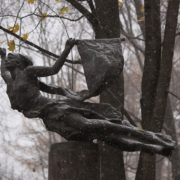 Bronze sculpture of the flying goddess of victory, Nicky. Fragment of the gravestone of the sculptor M.K. Anikushin