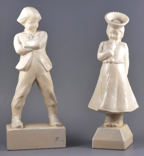 Children in national costumes, plaster, Riga (Latvia), USSR, author's work by Aleksandra Briede 1950