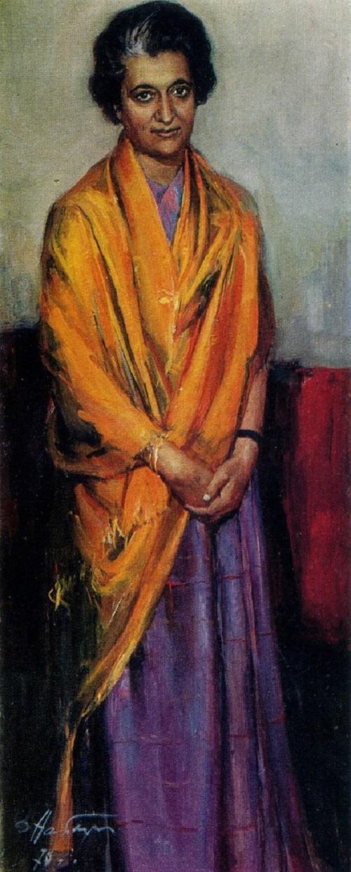 Dmitry Arkadievich Nalbaldyan (born 1906). Portrait of Indira Gandhi. 1970. Oil