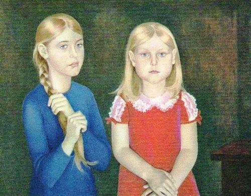 Soviet artist Elena Romanova. Portrait of Olga and Masha Shukshin. Oil. 1976