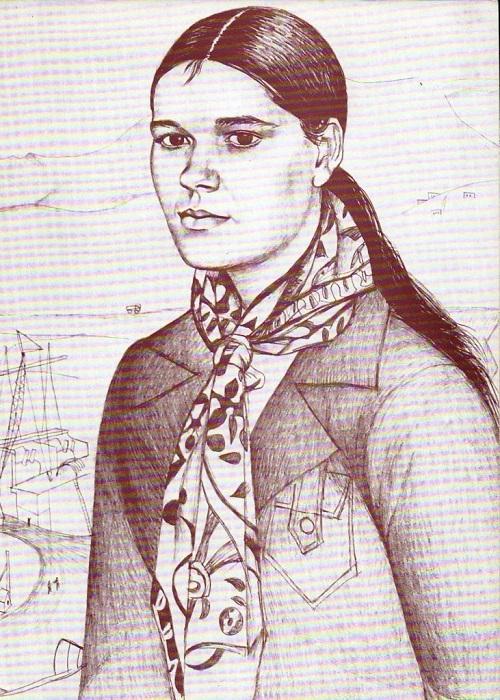 Soviet artist Elena Romanova. Portrait of Zina Olenina, Brigadier of Komsomol youth brigade. From the 'Nurek Hydro-electro Station'. Fragment. Pencil. 1973
