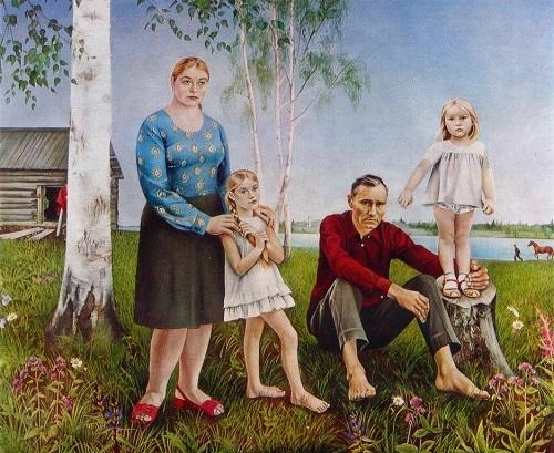 Soviet artist Elena Romanova. Family of Vasily Shukshin. 1976