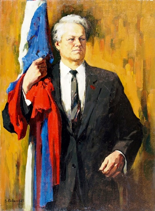 First President of Russia Boris Yeltsin. 1991. Oil on canvas