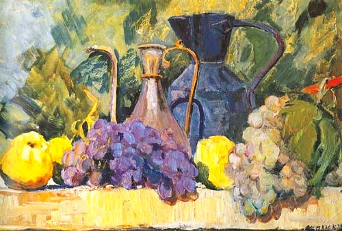 Grapes and two jugs. Still life