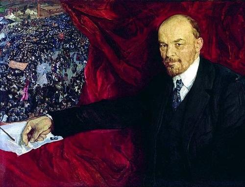 Soviet artists painting Lenin. Lenin and demonstration'. 1919. The State Historical Museum