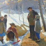 Lev Samoilov (1912 - 1988). Lenin and children. canvas, oil. 1957