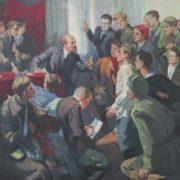 Lidiya Ponomareva (1906). Lenin and komsomol members. 1970