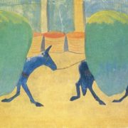 Martiros Saryan. 1880-1972. Foals. Constantinople horses carrying greens. 1910. Gouache on cardboard