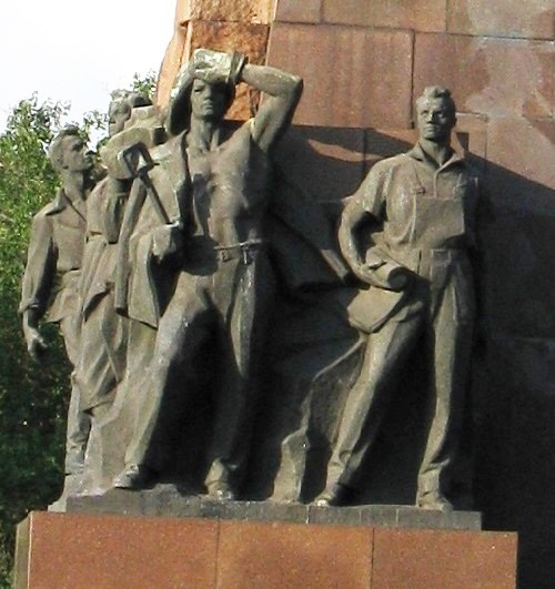 Monument to Lenin demolished after the coup in Ukraine in 2016, detail