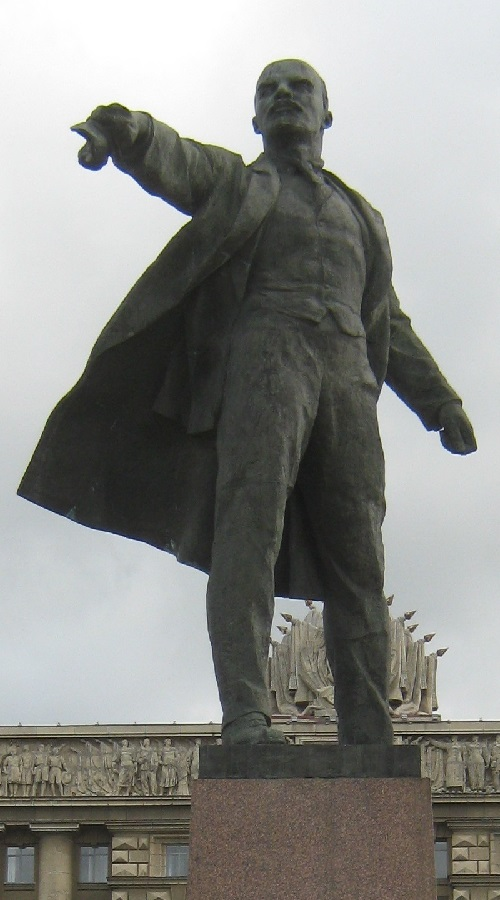 Monument to Lenin on Moscow Square closeup, Soviet sculptor Mikhail Anikushin